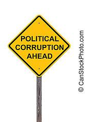 devant, -, politique, signe, prudence, corruption