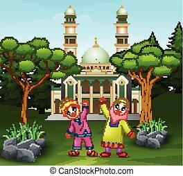 devant, poser, mosquée, enfants, heureux