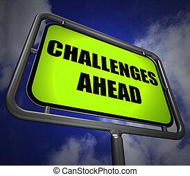 devant, poteau indicateur, défi, défis, diffi, ou, surmonter, spectacles