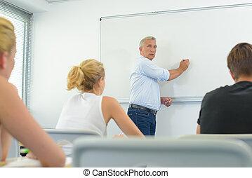 devant, prof, whiteboard, classe, écriture