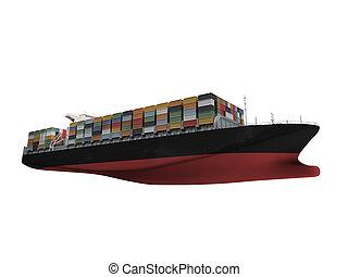 devant, récipient bateau, isolé, vue