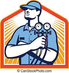 devant, réfrigération, conditionnement, mécanicien, air