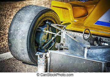 devant, race voiture, vue