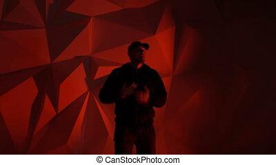 devant, rapper, rap, type, appareil photo