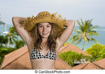 devant, recours, vacances, adolescent