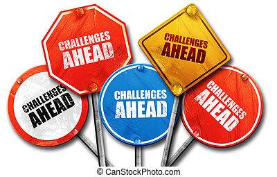 devant, rendre, défis, signes rue, 3d