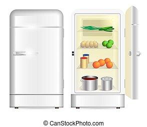 devant, retro, réfrigérateur, vue