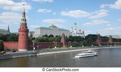 devant, rivière moscow, kremlin, vue