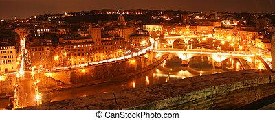 devant, rome, rivière, nuit