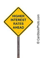 devant, -, signe, taux, intérêt, prudence, plus haut