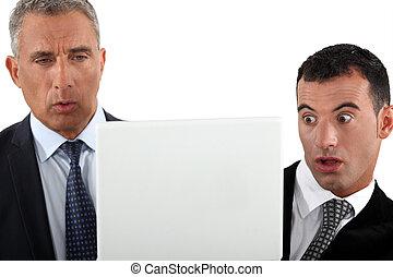 devant, surprenant, informatique, homme