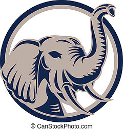 devant, tête, retro, éléphant