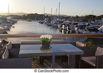 devant, table, marina, chaises