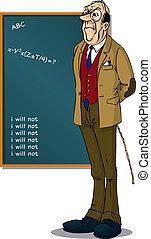 devant, tableau noir, eduquer enseignant