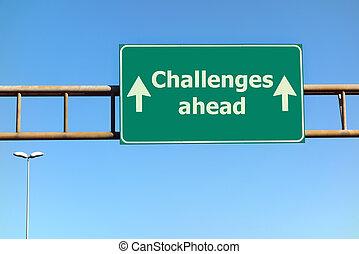 devant, texte, signe, défis, vert, route