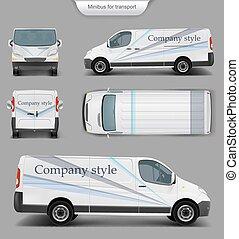 devant, top., dos, minivan, blanc, vue côté