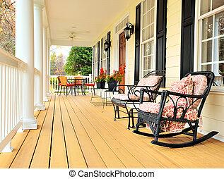 devant, traditionnel, porche, maison