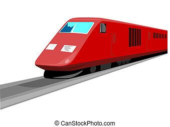 devant, train, rouges, vue