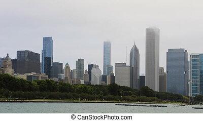 devant, transit, timelapse, scène, chicago