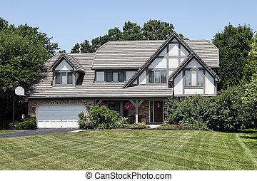 devant, tudor, maison, porche