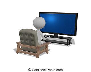 devant, tv, homme