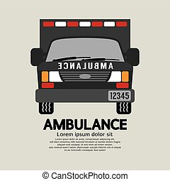 devant, vecteur, vue, illustration, ambulance