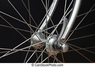 devant, vendange, bicycles, moyeu