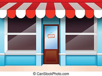 devant, vide, magasin
