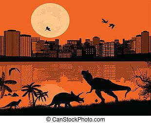 devant, ville, dinosaures, silhouettes, scape