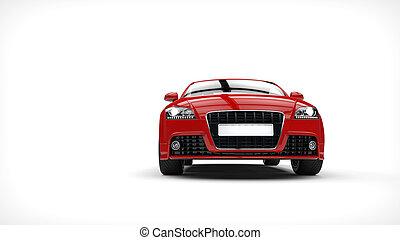 devant, voiture, fort, rouges, vue