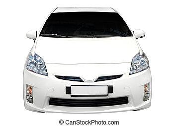 devant, voiture, hybride, isolé, vue
