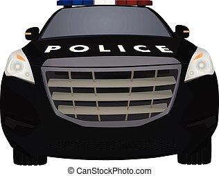 devant, voiture, police, vue