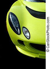 devant, voiture, sports, jaune, vue