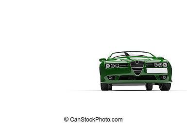 devant, voiture, vert, famille, vue