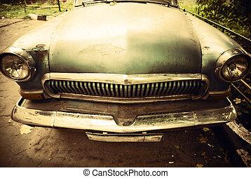 devant, voiture, vieux, vue