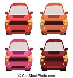 devant, voitures, illustration, vue