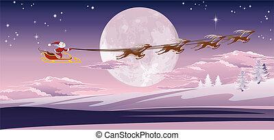 devant, voler, hiver, santa, lune