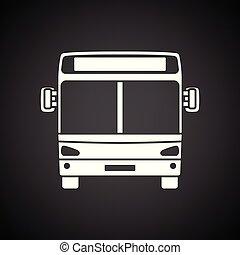 devant, vue ville, autobus, icône