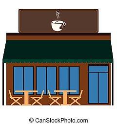 devanture, café, vue