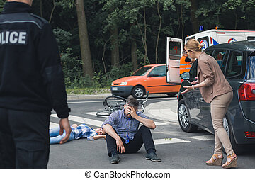 Devastated man with the crash casualty