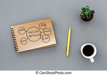 Develop a business strategy. Office table with sketch in notebook on dark grey background top view