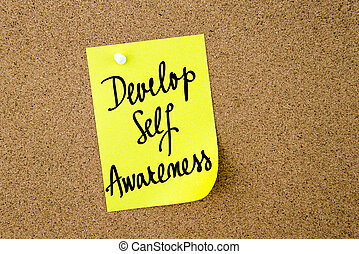 Develop Self Awareness written on yellow paper note