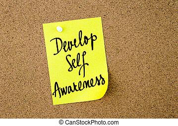 Develop Self Awareness written on yellow paper note