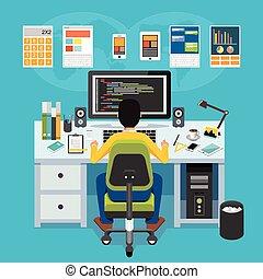 developer., fonctionnement, mobile, application, computer., programmeur