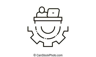 Developer Gear Icon Animation. black Developer Gear animated icon on white background