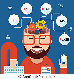 Developer of Web and mobile applications. Head with gears and programming technological clouds