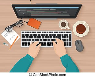 Developer working at computer. Programmer hands coding. Programming flat illustration concept. Vector top view.