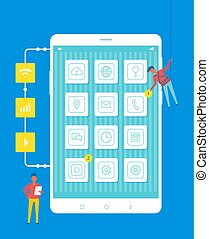 Developers Improve Cell Phone Vector Illustration