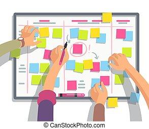Developers team planning weekly schedule tasks on task...