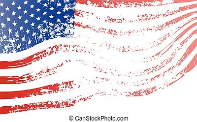 Developing American grunge flag. Vector colorful illustration